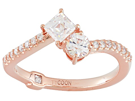 Cubic Zirconia 18k Rose Gold Over Sterling Silver Ring 1.23ctw (.80ctw DEW)