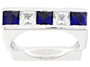Synthetic Blue Corundum And White Cubic Zirconia Platineve Ring 2.51ctw