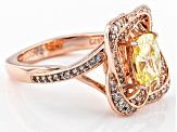 Yellow And White Cubic Zirconia 18k Rose Gold Over Sterling Silver Ring 3.20ctw (2.20ctw DEW)