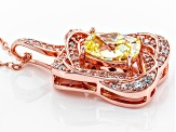 Yellow And White Cubic Zirconia 18k Rose Gold Over Silver Pendant With Chain 3.01ctw (2.10ctw DEW)