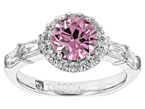 Pink And White Cdubic Zirconia Platineve Ring 3.85ctw (2.04ctw DEW)