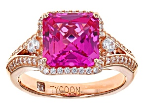 Synthetic Pink Corundum And White Cubic Zirconia 18k Rose Gold Over Sterling Ring 4.63ctw
