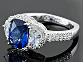 Synthetic Blue Corundum And White Diamond Simulant Platineve Ring 4.29ctw
