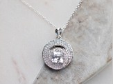 White Cubic Zirconia Platineve Pendant With Chain 3.21ctw