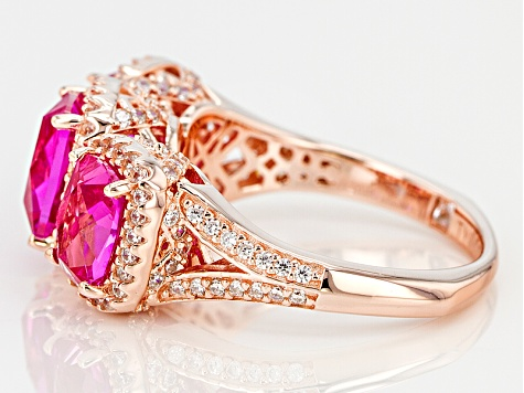 Lab Created Pink Sapphire & White Cubic Zirconia 18k Rose Gold Over Silver Ring 4.39ctw