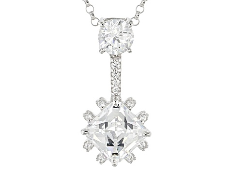 White Cubic Zirconia Platineve Pendant With Chain 3.87ctw