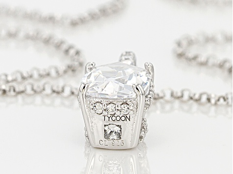 White Cubic Zirconia Platineve Pendant With Chain 3.00ctw