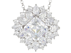 White Cubic Zirconia Platineve Pendant With Chain 8.02ctw