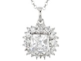 White Cubic Zirconia Platineve Pendant With Chain 3.71ctw