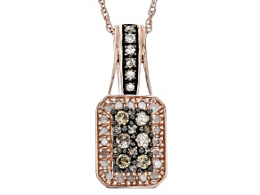 Champagne And White Diamond 14k Rose Gold Over Sterling Silver Pendant .50ctw