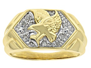 White Diamond 14k Yellow Gold Over Sterling Silver Mens Eagle Ring 0.10ctw