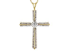 Diamonds 14k Yellow Gold Over Silver Cross Pendant .53ctw