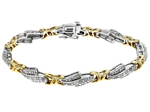 Diamond, Rhodium And 14k Yellow Gold Over Sterling Silver Bracelet .95ctw