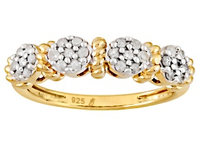 14k Yellow Gold Over Silver Diamond Ring .24ctw