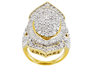14k Yellow Gold Over Silver Diamond Ring 2.50ctw