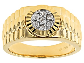 14k Yellow Gold Over Silver Diamond Ring .30ctw