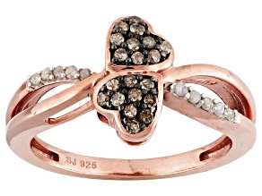 14k Rose Gold Over Silver Diamond Ring .25ctw