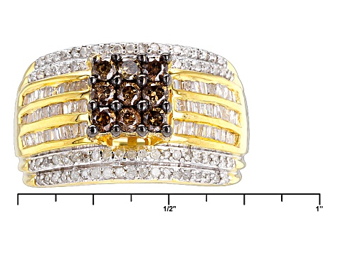 14k Yellow Gold Over Silver Champagne And White Diamond Ring 1.00ctw