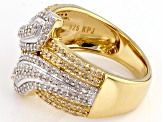 14k Yellow Gold And Rhodium Over Sterling Silver Diamond Ring .63ctw