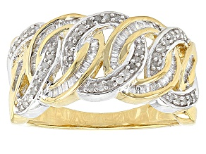 14k Yellow Gold Over Sterling Silver Diamond Ring .38ctw