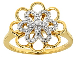 14k Yellow Gold Over Sterling Silver Diamond Ring .20ctw