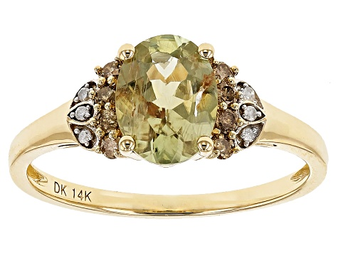 Green Turkish Diaspore 14k Yellow Gold Ring 1.14ctw