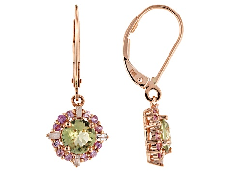 Green Turkish Diaspore 14k Rose Gold Earrings 2.14ctw