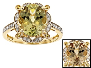 Green Turkish Diaspore 14k Yellow Gold Ring 3.55ctw