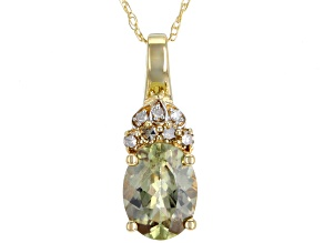 Green Turkish Diaspore 14k Yellow Gold Pendant With Chain 1.07ctw.