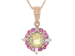 Green Turkish Diaspore 14k Rose Gold Pendant With Chain 1.03ctw