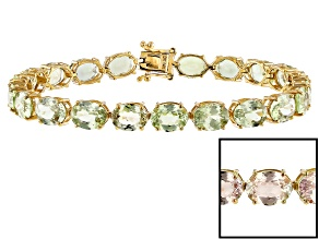 Color shift diaspore 14k yellow gold bracelet 24.57ctw