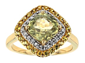 Green Diaspore 14k Yellow Gold Ring 2.65ctw