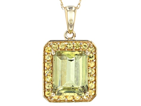 Green Diaspore 14k Gold Pendant With Chain 3.29ctw
