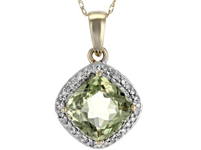 Green Turkish Diaspore 14k Gold Pendant With Chain 2.39ctw