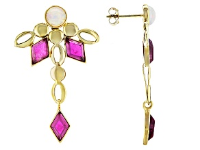 Mahaleo Ruby 10k Yellow Gold Earrings 4.00ctw