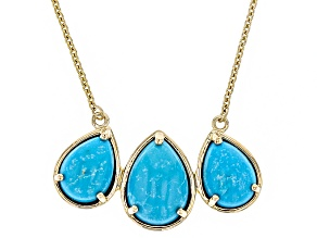 Blue Turquoise 14k Yellow Gold Necklace.