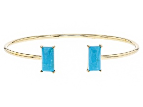 Blue Turquoise 14k Yellow Gold Cuff Bracelet.