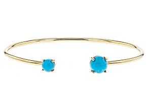 Blue Turquoise 14k Yellow Gold Cuff Bracelet.