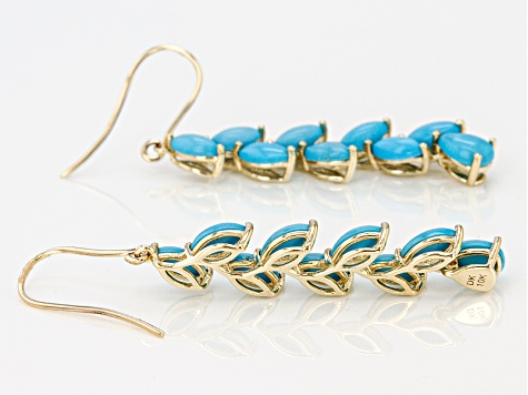 Blue Turquoise 10k Yellow Gold Dangle Earrings.