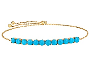 Blue Sleeping Beauty Turquoise 14k Gold Bolo Bracelet