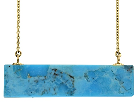 Blue Kingman Turquoise 10k Yellow Gold Necklace 35x8mm