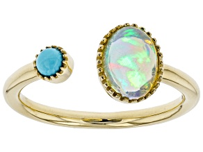 Multicolor Ethiopian Opal  10k Yellow Gold Ring .76ct