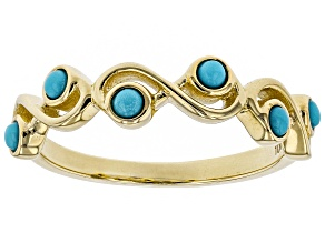 Blue Sleeping Beauty Turquoise 10k Yellow Gold Ring 2mm
