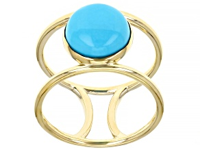 Blue Sleeping Beauty Turquoise 10k Yellow Gold Ring 10mm