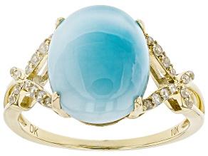 Blue Larimar 10k Yellow Gold Ring .19ctw