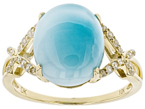 Blue Larimar 10k Yellow Gold Ring 12x10mm
