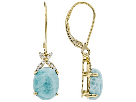 Blue Larimar 10k Yellow Gold Dangle Earrings 10x8mm