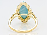 Blue Larimar Marquise 10k Yellow Gold Ring 16x8mm