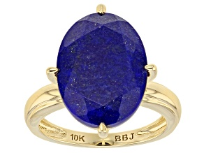 Blue Oval Lapis Lazuli 10k Yellow Gold Solitaire Ring 6.89ctw