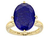 Blue Oval Lapis Lazuli 10k Yellow Gold Solitaire Ring